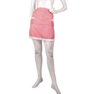 Vintage Gingham Waist Apron Red White Check Lace Trim